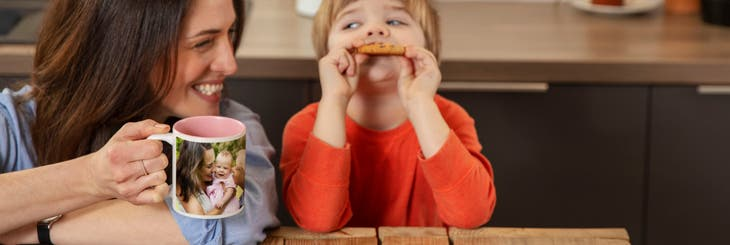 Personalised mugs with family photos and coloured insides