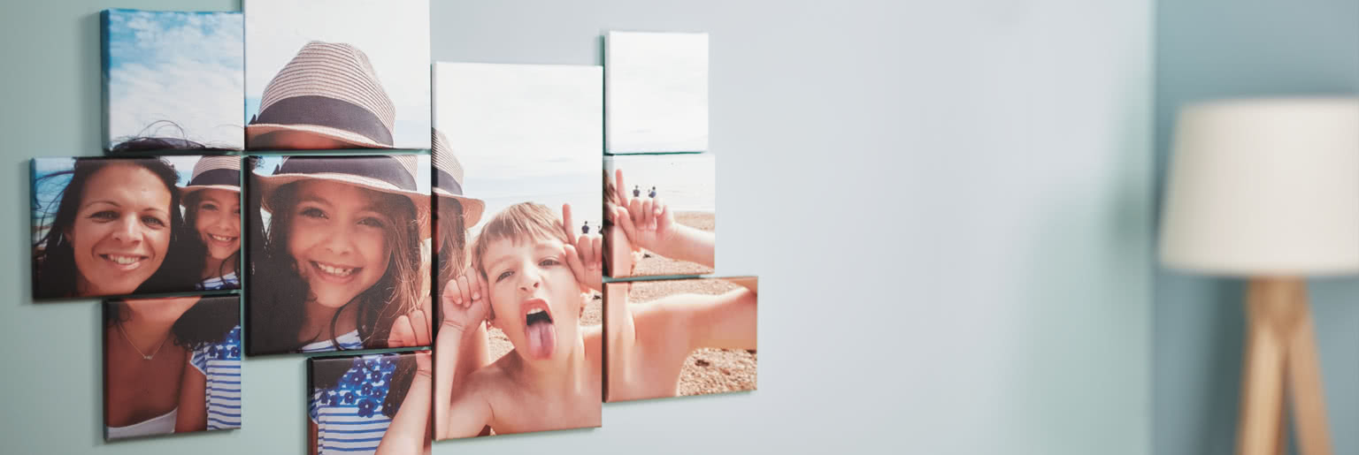 Montage of simple canvases of a mum and her children on the beach