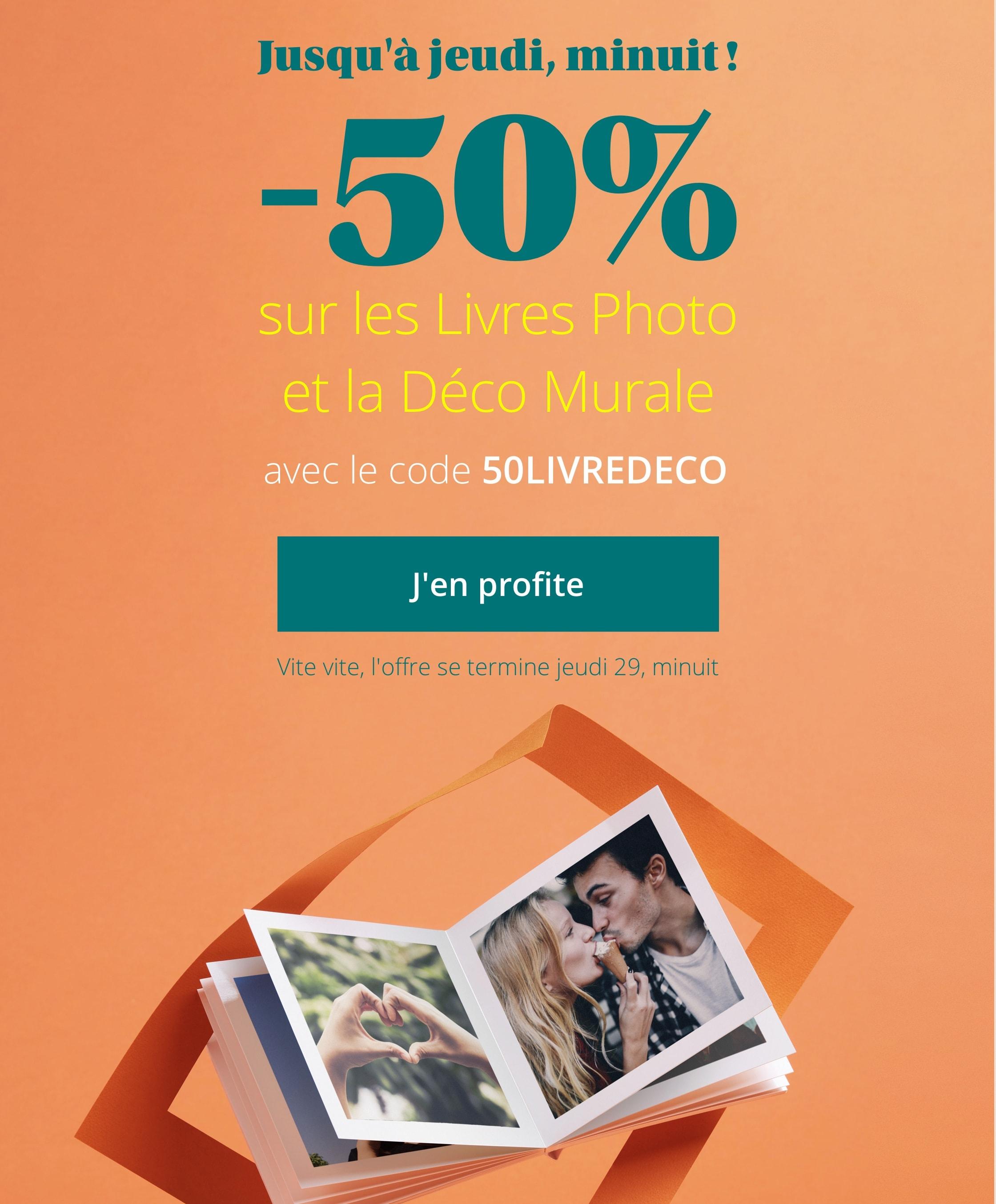 -50% sur les Livres Photo et la Déco Murale