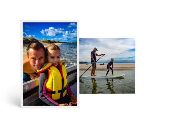Photo prints showing in focus shot of father and daughter in life jackets