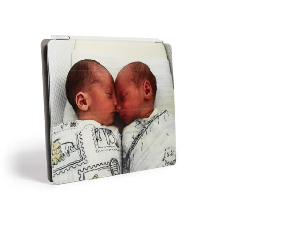 Personalised iPad cover with an image of two babies