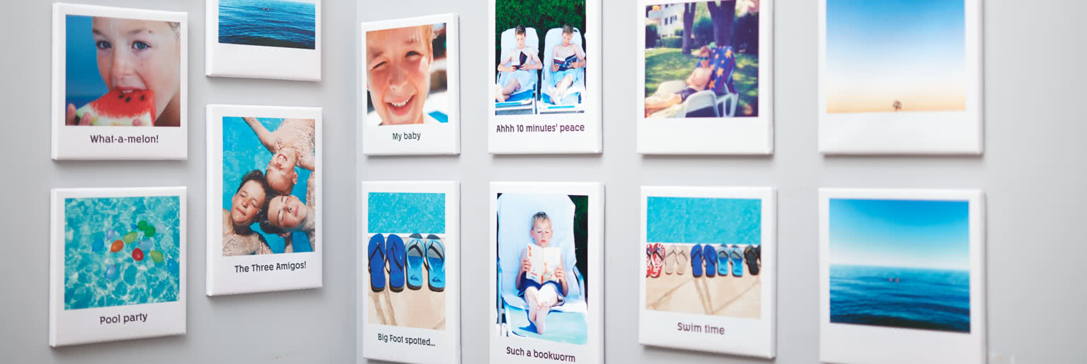 Retro canvases of children by the pool