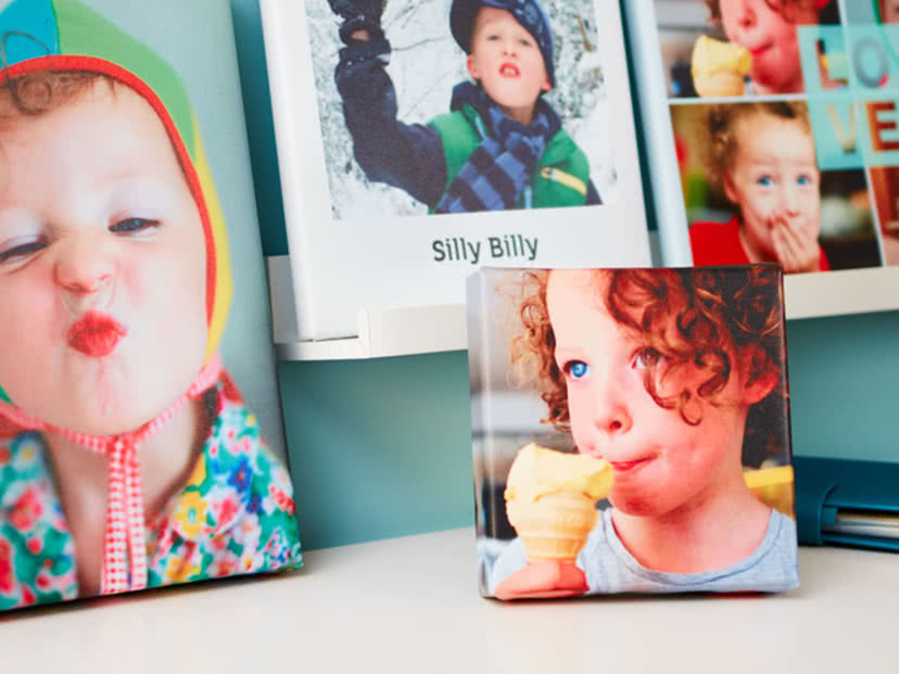 Different style canvases with pictures of a boy