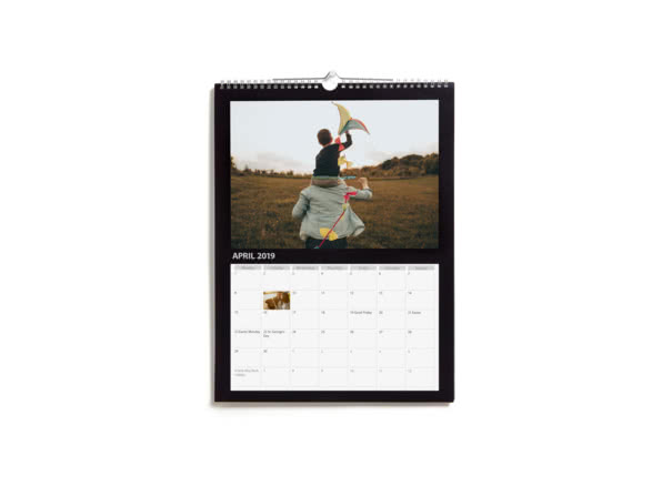 A black A4 Personalised Wall Calendar on a white background
