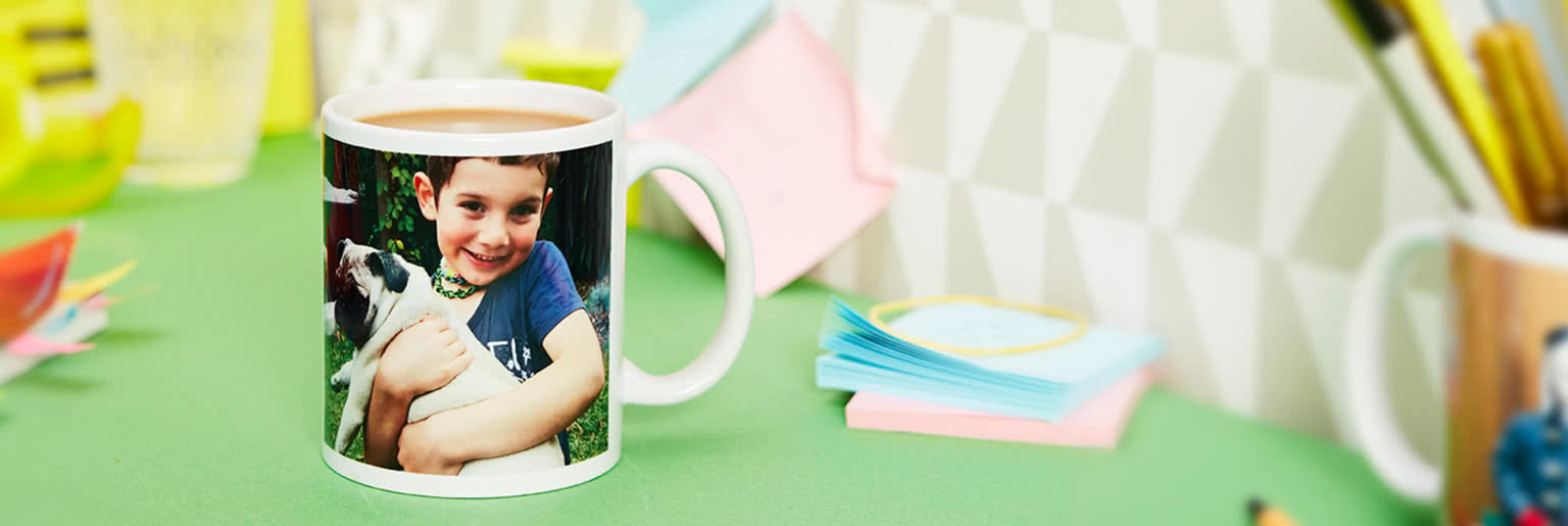 Simple mug with a photo of a boy and a pug