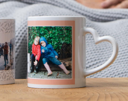 Mug photo avec une anse en forme de coeur