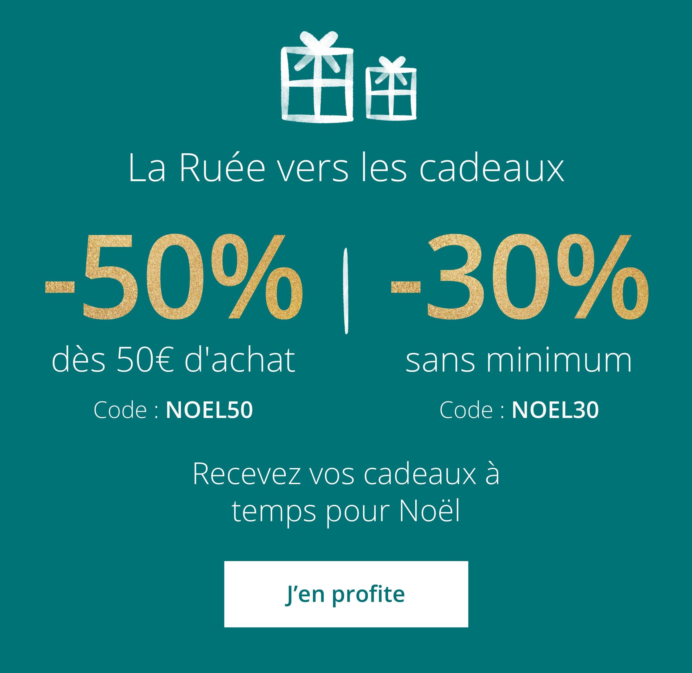 50% dès 50€ d'achat